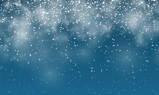 Christmas snow. Falling snowflakes on dark blue background. Snowfall. Vector illustration