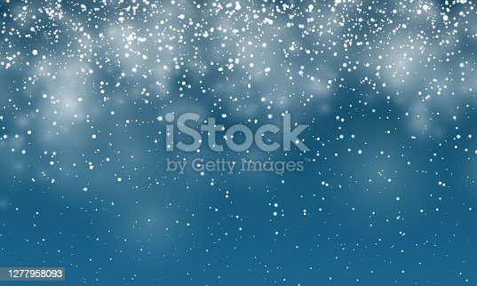 istock Christmas snow. Falling snowflakes on dark blue background. Snowfall. Vector illustration 1277958093