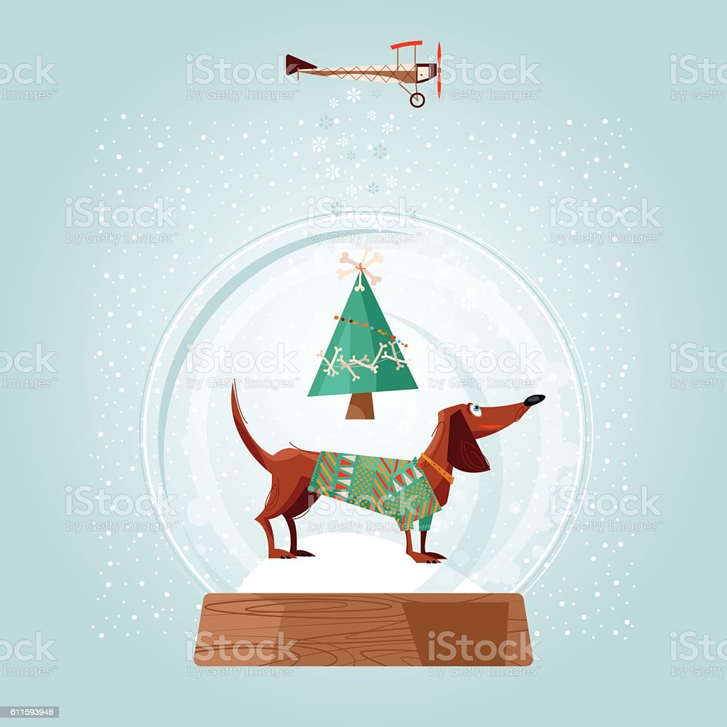 Christmas Snow Globe And Dachshund Christmas Dog Greeting Card Stock