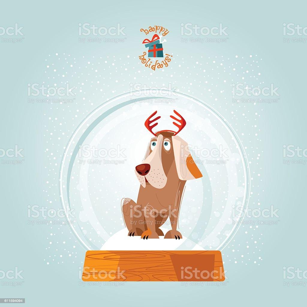 Christmas Snow Globe And Dog Christmas Greeting Card Stock Vector