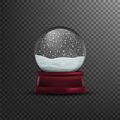 Christmas snow globe Isolated on transparent background. Vector illustration, eps 10.