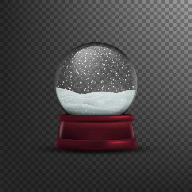 illustrazioni stock, clip art, cartoni animati e icone di tendenza di christmas snow globe isolated on transparent background. vector illustration, - glass world