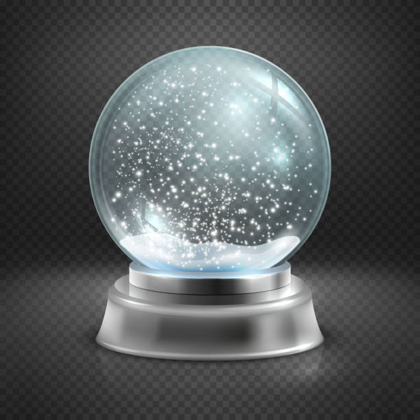 Christmas snow globe isolated on transparent checkered background vector illustration - ilustración de arte vectorial