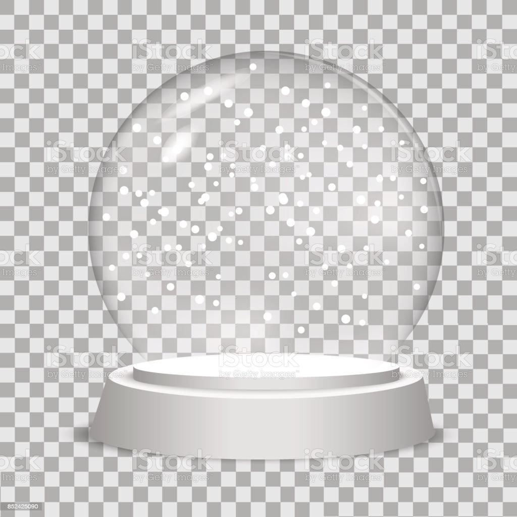 Globo de nieve de Navidad sobre fondo transparente.  Ilustración de vector. - ilustración de arte vectorial