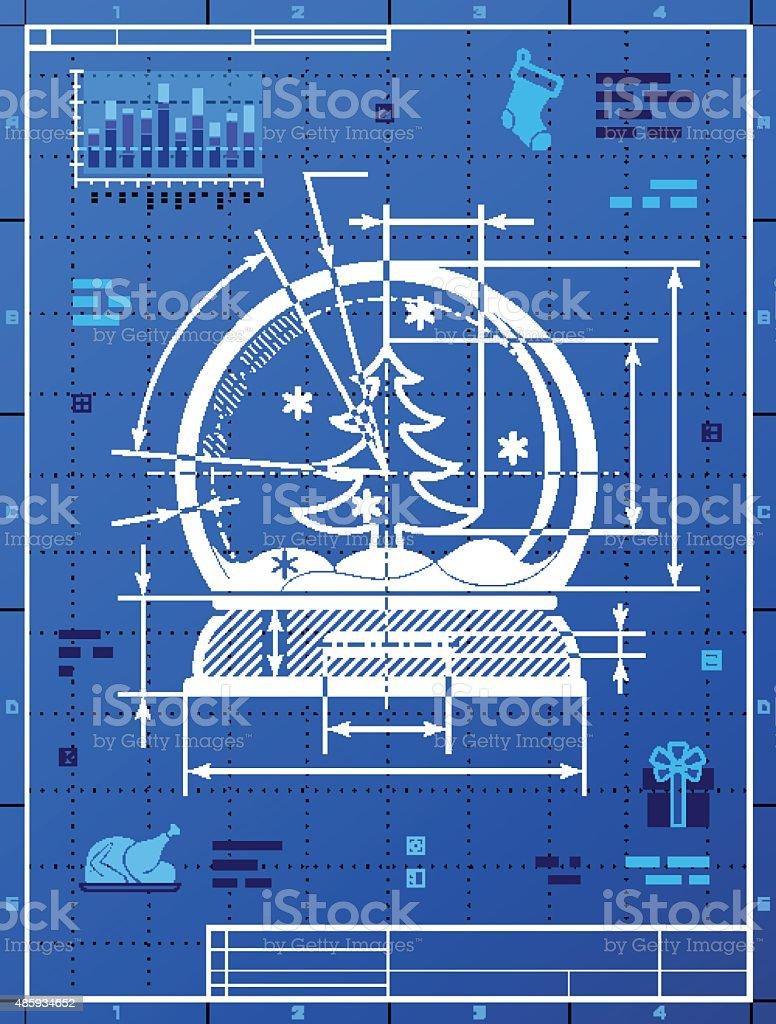 Christmas snow globe symbol as blueprint drawing stock vector art christmas snow globe symbol as blueprint drawing royalty free christmas snow globe symbol as blueprint malvernweather Gallery