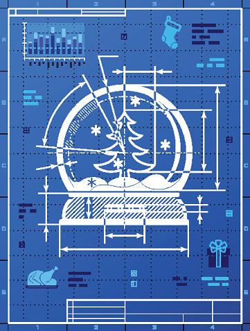 Christmas snow globe symbol as blueprint drawing