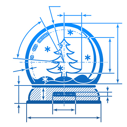 Christmas snow globe symbol with dimension lines