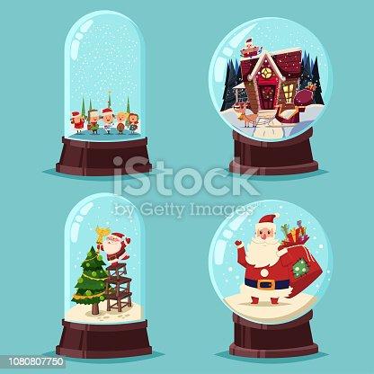 Christmas snow globe vector cartoon set.