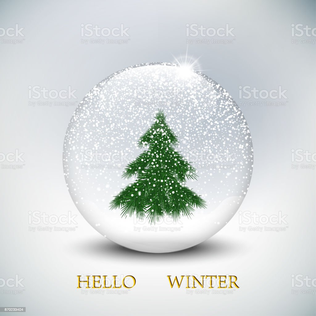 Weihnachtsbaum Fällen.Weihnachtenschneekugel Mit Weihnachtsbaum Im Winter Hintergrund