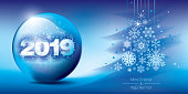 Christmas snow globe with falling snow and 2019 inside. Editable vector illustration.