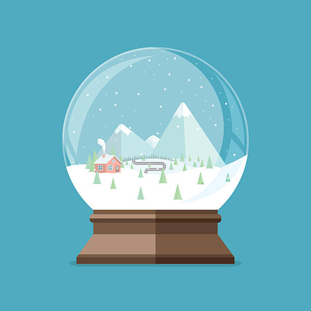 christmas snow globe with house in the forest and mountains - mountain top stock illustrations