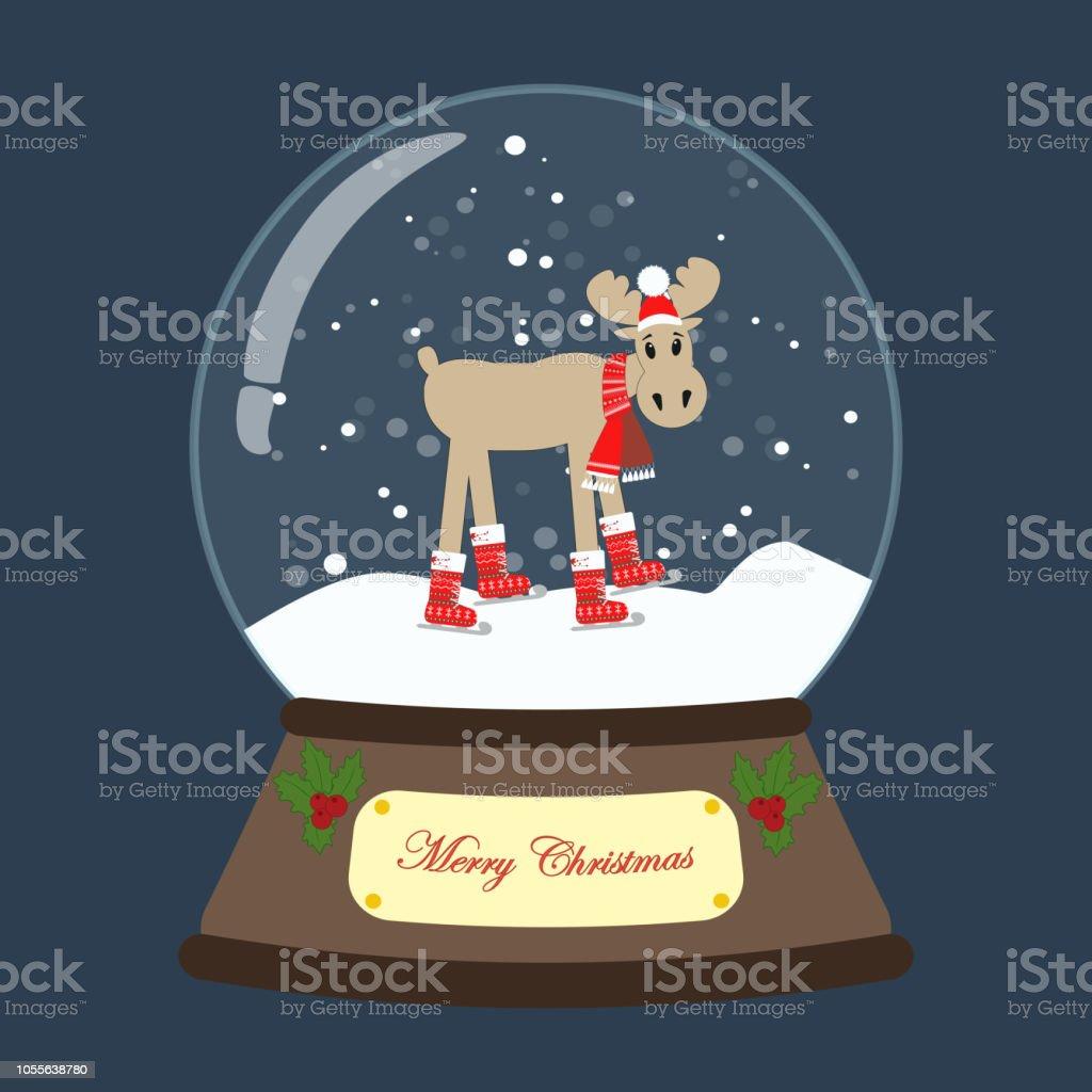 Schneekugel Weihnachten Mit Elchvektorillustration Stock Vektor Art ...