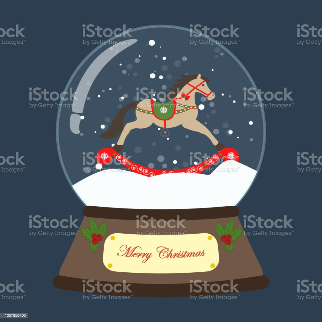 Christmas Snow Globe With Rocking Horse Vector Illustration Stock Illustration Download Image Now Istock