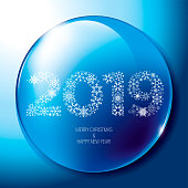 Christmas snow globe with the falling snow and 2019 text inside, editable vector illustration.