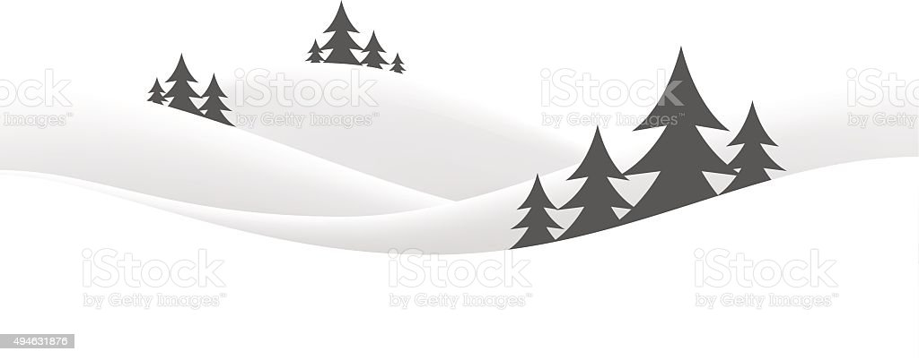 christmas snow hills vector art illustration