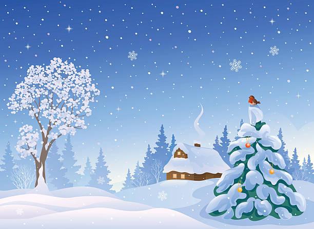 stockillustraties, clipart, cartoons en iconen met christmas snow - christmas cabin