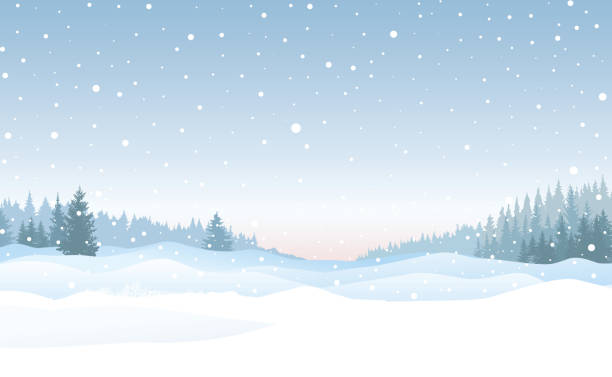 Christmas snowfall background. Snow winter landscape. Merry Christmas skyline. vector art illustration