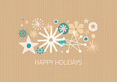 Christmas greeting card with hand drawn snowflakes. Layered illustration - global colors - easy to edit.