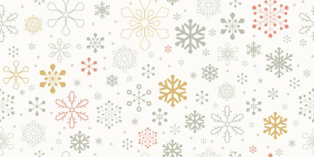 Weihnachten Schneeflocke Hintergrund. Nahtloses Muster. – Vektorgrafik