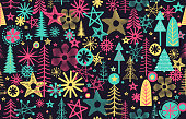 Christmas background with seamless pattern. Layered illustration - global colors - easy to edit.