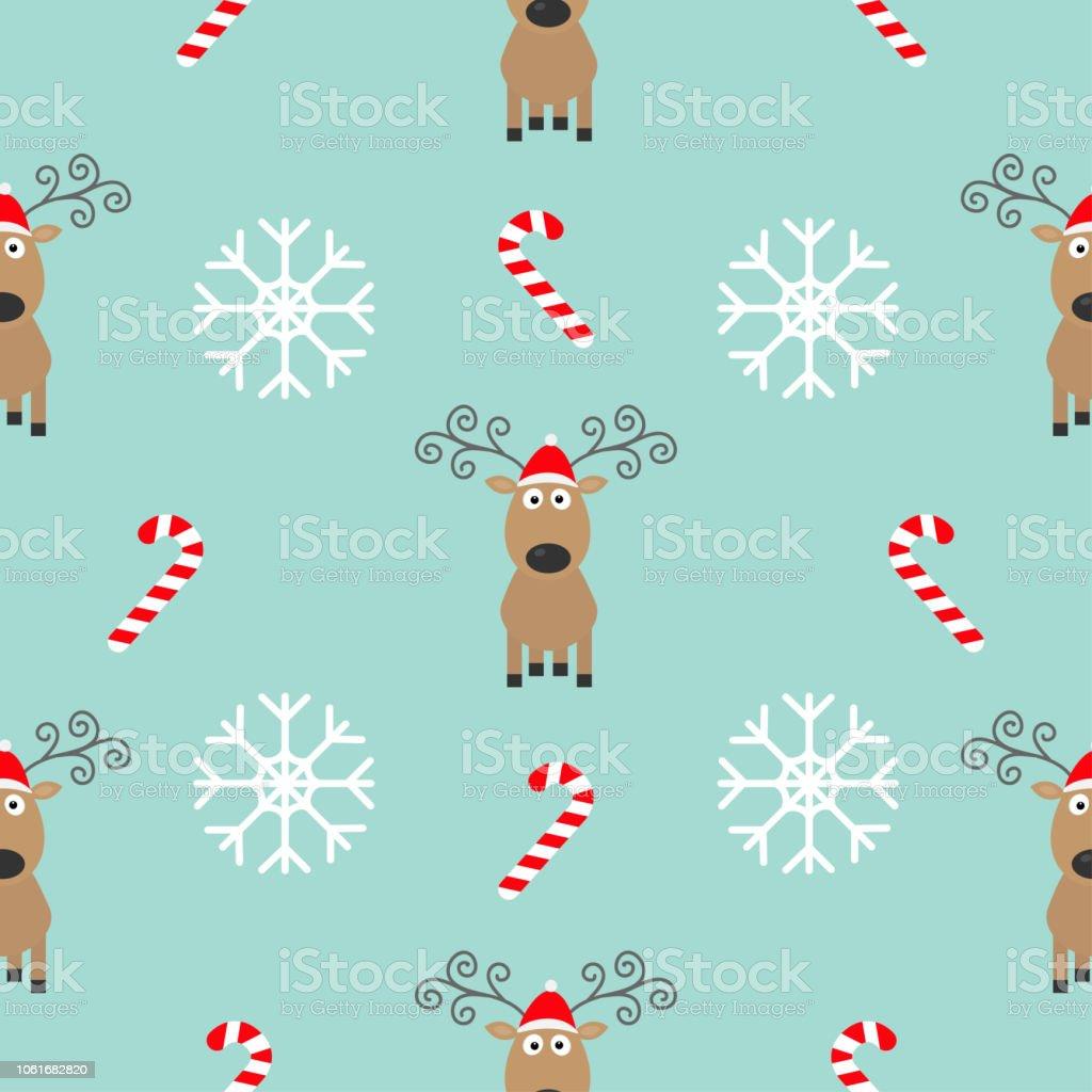 Christmas Snowflake Candy Cane Deer Wearing Red Santa Hat Seamless