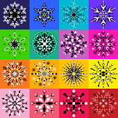 Set of sixteen black and white snowflake designs on colorful backgrounds