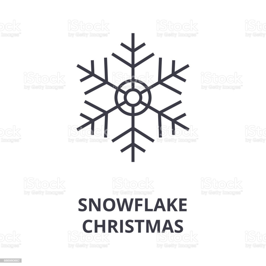 Christmas Snowflake Line Icon Outline Sign Linear Symbol Vector Flat