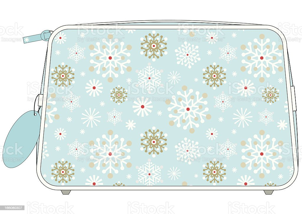 Christmas wash bag with icy cool snowflake repeat pattern.