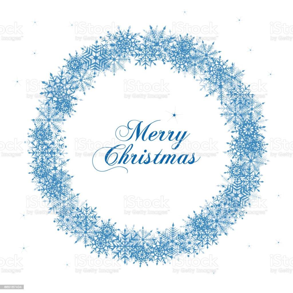 Weihnachtskranz Schneeflocke Und Gruß Wort Merry Christmas Stock ...