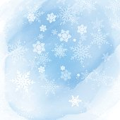 Christmas background with snowflakes on a watercolour background