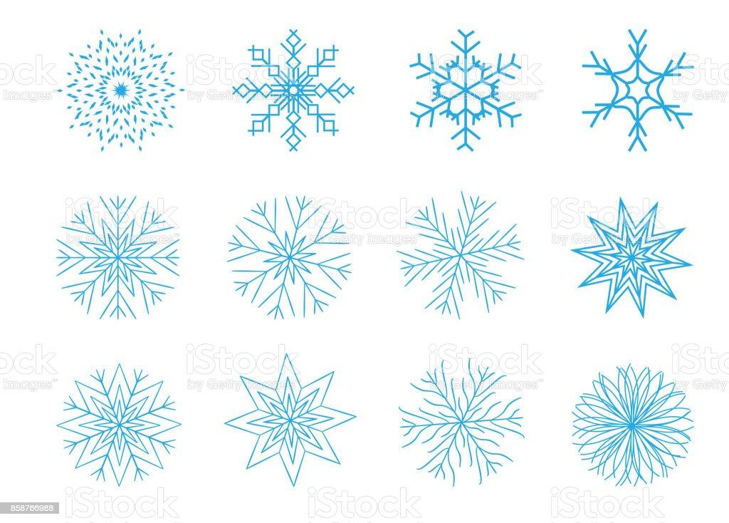 Weihnachten Schneeflocken Auf Weißem Hintergrund Vektorillustration ...