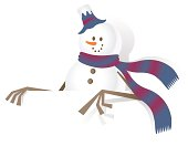 Vector illustration - Christmas, Snowman and blank sign, showing something by index finger.