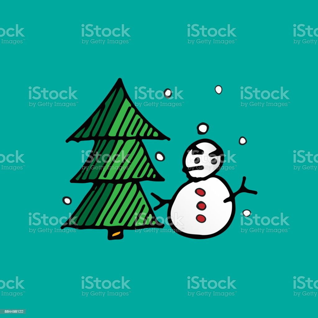 Christmas snowman and Xmas tree doodle vector. Holiday and festival concept. Merry Christmas and Happy new year theme vector art illustration