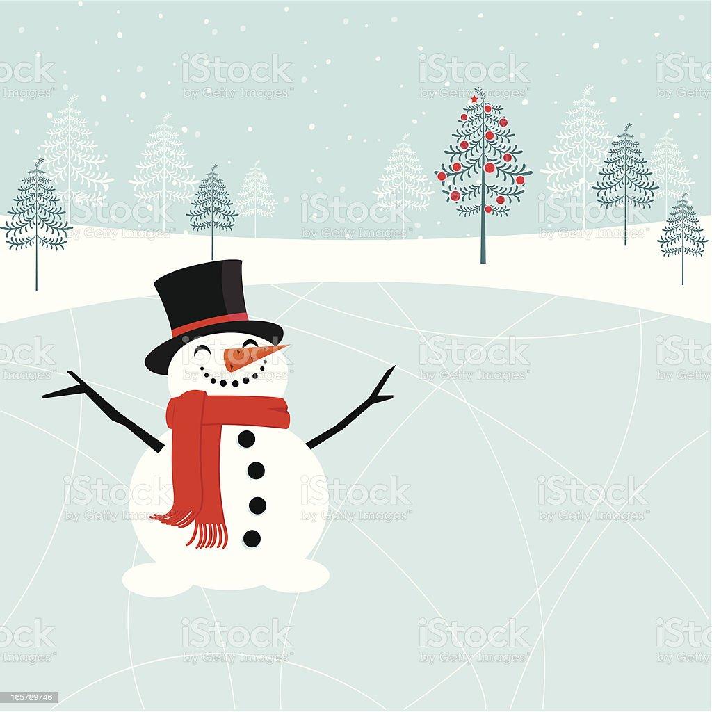 Christmas snowman at the skating rink royalty-free stock vector art