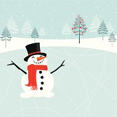 Happy Christmas snowman at the skating rink.