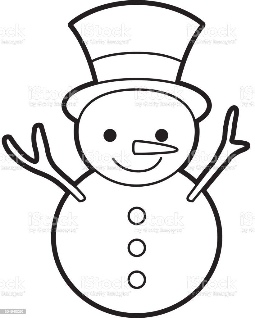 Noël Bonhomme De Neige Dessin Animé Sourire Caractère Hiver