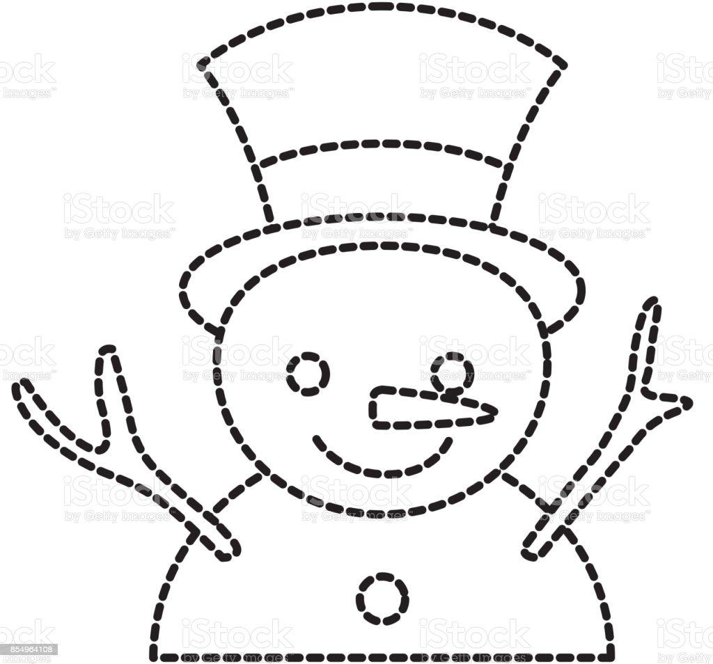 Ilustración De Navidad Muñeco De Nieve Dibujos Animados Sonrisa