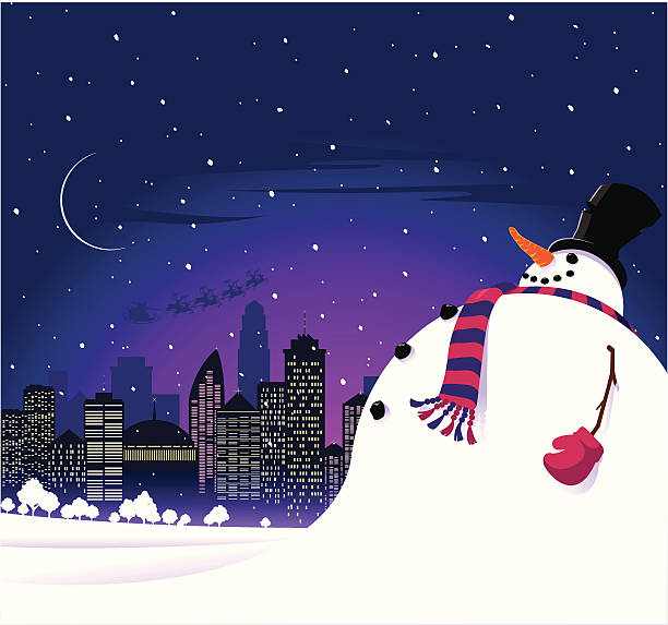weihnachten schneemann in der stadt - karotte peace stock-grafiken, -clipart, -cartoons und -symbole