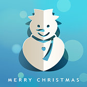 Celebrate Christmas with paper craft of folded Christmas snowman on the blue background