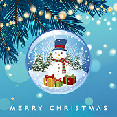To celebrate Christmas with snowman snow globe on blue pine tree background