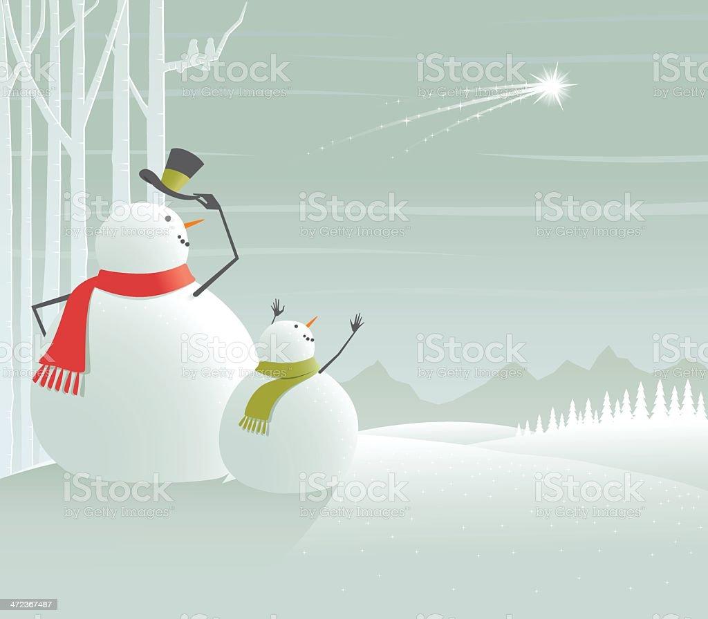 Christmas snowman waving at Shooting star in frozen winter landscape vector art illustration