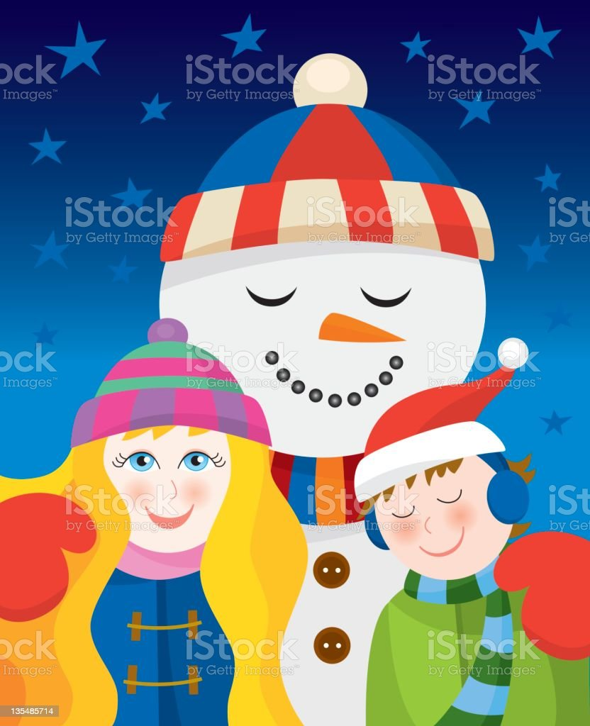 Christmas: Snowman with children royalty-free stock vector art