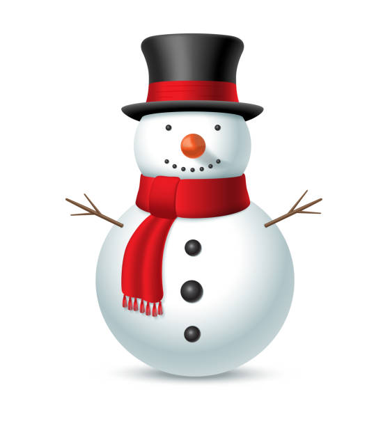 Christmas snowman with hat and scarf isolated on white background. Vector illustration Christmas snowman with hat and scarf isolated on white background. Vector illustration snowman stock illustrations