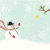 Christmas snowman with star
