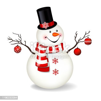 Christmas snowman with top-hat and scarf , isolated on white background.