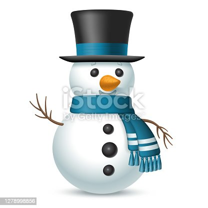 Christmas snowman with top-hat and scarf isolated on white background. Vector illustration.