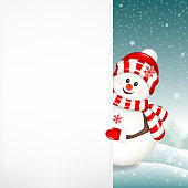 Christmas snowman with white blank isolated on winter background.