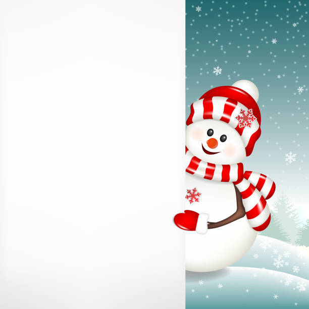 Christmas snowman with white blank isolated on winter background. Christmas snowman with white blank isolated on winter background. snowman stock illustrations