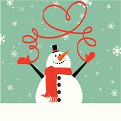 Christmas snowman with mittens.