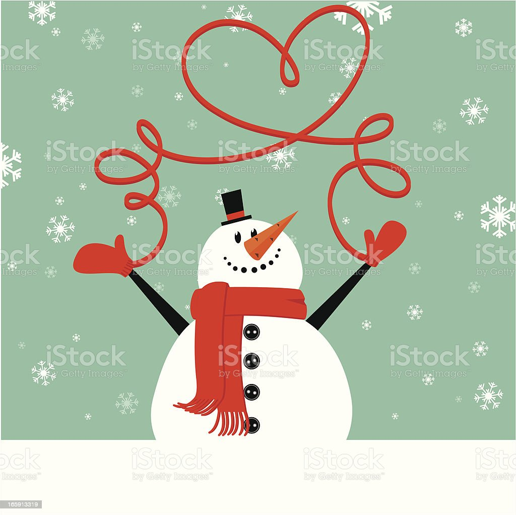 Christmas snowman wth mittens vector art illustration